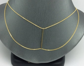 14K Yellow Gold New Design Double Layer Necklace