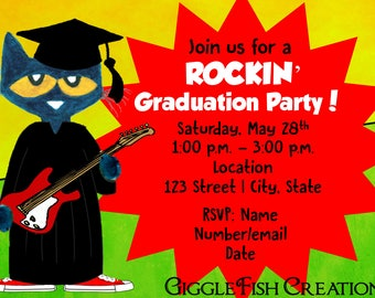 Pete the Cat Rockin' Graduation Party Invitation | Digital File