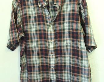 A Men's Vintage 70's,Thin Short Sleeve PLAID Oxford Shirt By SERO.L