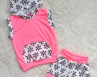 Neon Pink and Triangles Beach Set. Sleeveless Hoodie. Shorts Baby child toddler