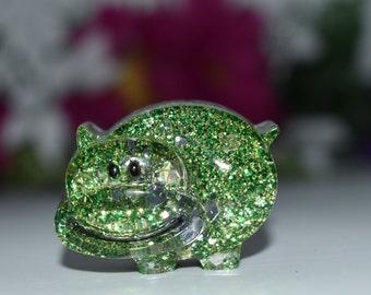 Orgone Energy Green Hippo Mini 1 pc -Quartz Crystal, Pyrite, Blue Kyanite