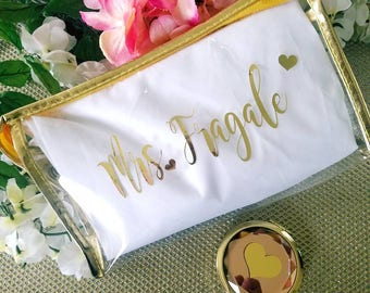 bridesmaid cosmetic bag, makeup bag,bridesmaid gift,bride makeup bag, gold cosmetic bag, personalized cosmetic bag, personalized makeup bag