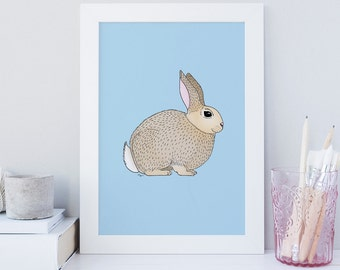 Art Print, Nursery Decor, Nursery Wall Art, Kids Room Decor,Rabbit, Bunny, LITTLE BUNNY