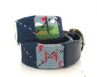 "Vintage Mens Leather Belt Needlepoint Golf Belt - Navy Blue Leather Preppy 37"" Belt - Golfers Belt - Retro Brass Buckle Belt - Preppy ACC-14"