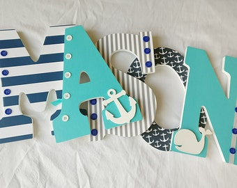 Boy nursery letters, nautical letters, navy and aqua nautical letter, nautical nursery letters, boy hanging letters, wooden letters for boy