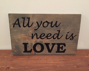 The Beatles - All You Need Is Love - Reclaimed Wood Sign