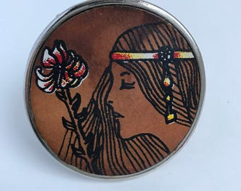 Belt Buckle, Vintage Belt Buckle, 60's - 70's Style, Leather on Metal, Woman with Flower Print, Flower Child, Vintage Accessory, Groovy