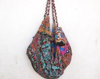 Kuchi bag, embroidery boho, gypsy hand bag, hobo market bag, ethnic, gypsy, mirrored  work, banana bag, vintage, indian, pakistani, afghan