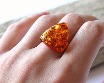Cognac amber ring, amber jewelry, natural Baltic amber, sterling silver, amber ring, elegant amber ring, cognac ring, ring, amber and silver