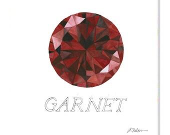 Garnet Watercolor Rendering printed on Canvas