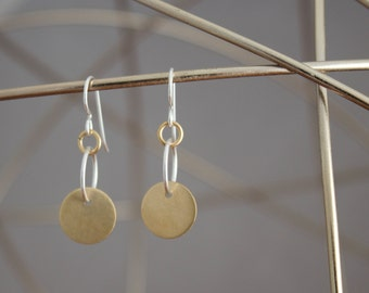Brass Disc Earrings, Understated Brass and Silver Earrings