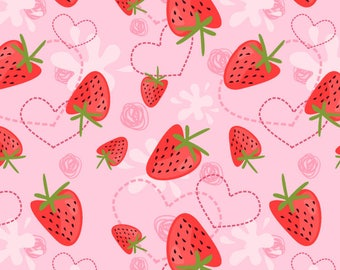 Strawberry Yogurt Cotton Spandex Knit - Strawberry Fabric, Strawberry Print Fabric, Strawberry Material, Fruit Fabric, Fruit Print Fabric