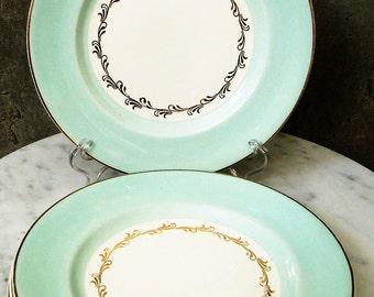 Johnson Brothers England Pareek Dinnerware 1940s - 1950s Vintage Plates Aqua Rim #JB917
