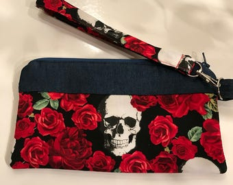 Skulls and Roses Wristlet
