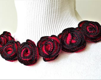 Crochet rose flower Red rose applique Crochet red rose, 3d crochet applique Red flower applique Roses applique Roses for your craft Set of 3