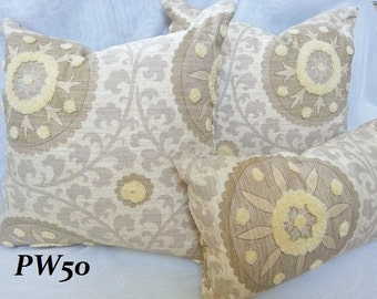 3 Park Tribal - Decorative Pillow and Lumbar Pillow Cover / Both Sides / Embrodered Suzani / 20 x 20