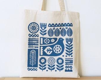 Tote Bag Scandinavian Design Blue Bird Flower Swedish Retro 60s 70s Screen Print Fran Wood Design