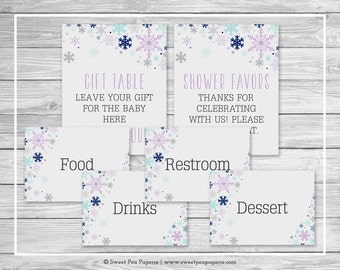 Winter Baby Shower Table Signs - Printable Baby Shower Table Signs - Baby It's Cold Out Baby Shower - Baby Shower Signs - EDITABLE - SP143