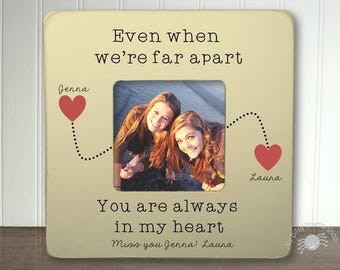 personalized long distance best friend picture frame personalized long distance bestie picture frame even when were far apart ibfsfrnd