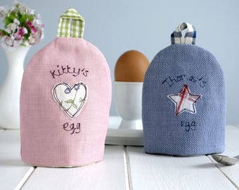 Personalised Egg Cosy - Embroidered Egg Cup Cosy - Fabric Egg Warmer - Boiled Egg Cover - Kitchen Accessory - Breakfast Table - Easter Gift