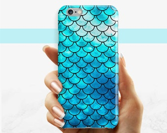 Cas de téléphone bleu sirène, iPhone 7 6 6 s Plus téléphone SE cas iPhone 5 5 s coque étui de téléphone Samsung Galaxy S8 Plus S7 bord S6 S3 S4 sirène