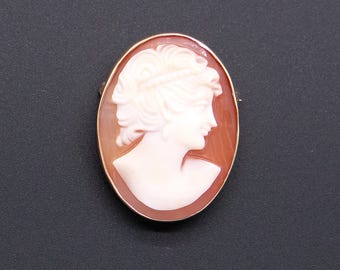 Vintage Estate 14k Yellow Gold Carved Shell Cameo Woman Profile Brooch Pin Pendant