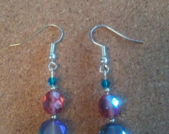 Iridescent glass bead earrings