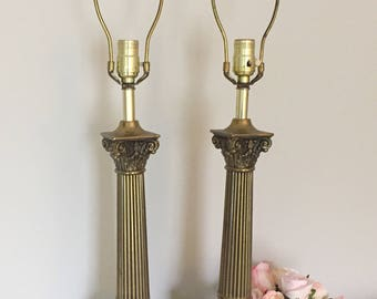 Vintage Pair Of Marble Brass Lamps