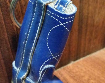 Vintage blue leather cowboy boot keychain