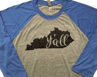 Kentucky y'all raglan (baseball) tee