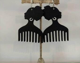Wooden Lady Pick Earring, Comb Earring, Black Pick Earring,