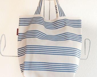Shopping bag market bag grocery bag, striped canvas beach bag, Blue and white summer bag, Big tote bag, Nautical Beach bag, Overnight bag