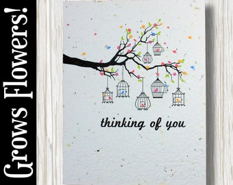 """GROWS WILDFLOWERS! - """"Thinking of you"""" - Plant the Card - 100% recycled - #FR030"""