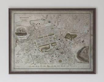 Edinburgh Map : Vintage Map of Edinburgh, Scotland - Circa 19th C. - Weathered Map