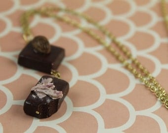 Two Chocolate Candy Pieces Necklace/ Polymer Clay Chocolates/ Miniature Chocolate Desserts/ Chocolate Foodie/ Valentines Day Jewelry