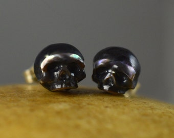 Large Hand Carved Pearl Skull Stud Earrings - Sterling Silver Earrings - Skull Jewelry - Pearl Earrings - Christmas Jewelry - Gift for Her