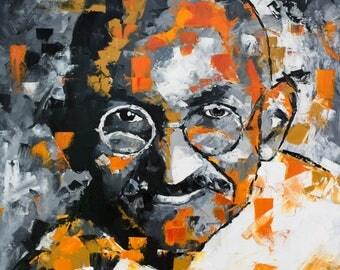 "Mahatma Gandhi, Large Original Painting, 30"", 40"", 52"", Art, Abstract, Free Worldwide Shipping, Richard Day"