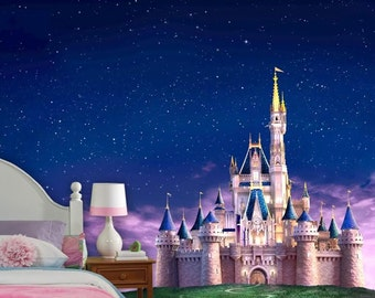 Disney Castle Wall mural, Vinyl Mural, Wallpaper, Wall décor, Nursery and room décor, Wall art