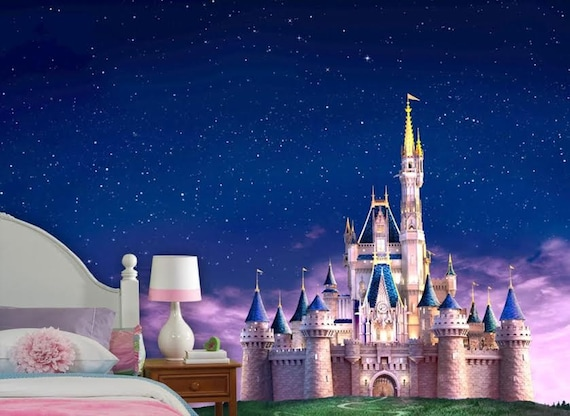 Disney castle wall mural vinyl mural wallpaper wall d cor for Castle mural wallpaper