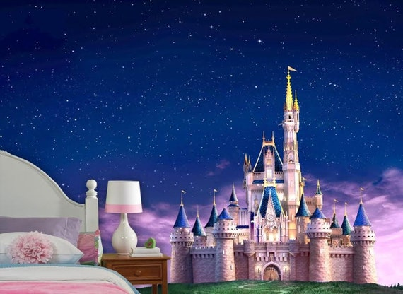 Disney castle wall mural vinyl mural wallpaper wall d cor for Disney princess castle mural