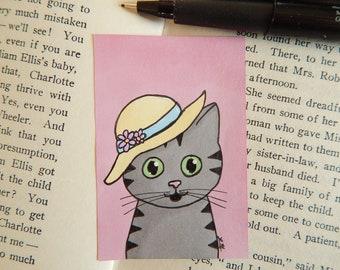 Cat drawing, original art, cat art, hand drawn, mini art, upcycled art, cat lover gift, cat in hat, bookmark, magnet, spring art, summer art