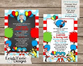 SALE Printable DR SEUSS Invitation- Dr Seuss Graduation Invitation, Dr Seuss Birthday Party Invite- Dr Seuss Baby Shower- Doctor Seuss Party