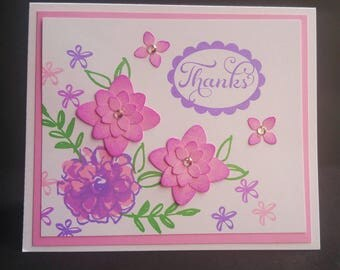 Pink floral print hand stamped thank you cards, set of 12