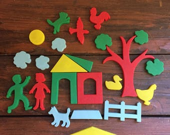 Set of Refrigerator Magnets / Vintage Kitchen Decor / Build a Story Magnets / 23 Pieces Total
