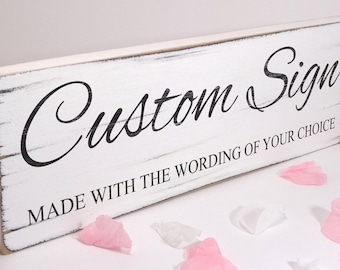 Personalised Sign Any Wording Vintage Shabby Chic Wedding Birthday Mum Dad Sister Gift Shop Cafe 02