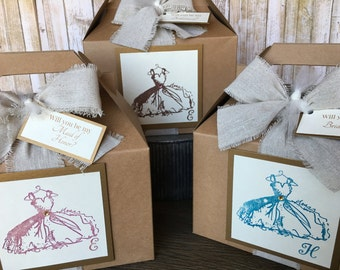 6 - Personalized Bridal Party Boxes, Will You Be My Bridesmaid Box, Bridal Party Gift Boxes, Bridal Party Thank You Boxes