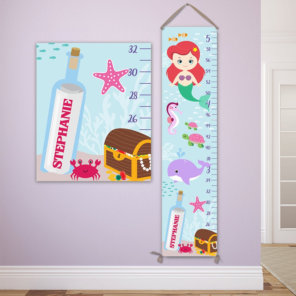 Mermaid growth chart personalized canvas growth chart perfect jolieprints nvjuhfo Image collections