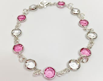 Rose Swarovski Crystal Bracelet Rose Bridesmaid Gift Swarovski Channel Rose Bridal Party Gift Rose Wedding Bracelet Mother of the Bride