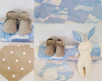 Baby Gift Set- Blue Sky clouds. Quilted baby comforter, Bunny soft toy,  Bandana Bib, reversible