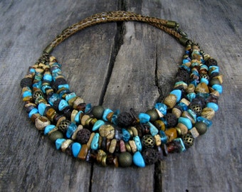 Turquoise Necklace, Statement Turquoise Necklace,  Multi Strand Turquoise Necklace, Gemstones necklace, Bronze necklace, Big Necklace